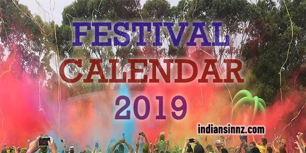 Festival, Religious and National Calendar 2019 (New Zealand and Indian)