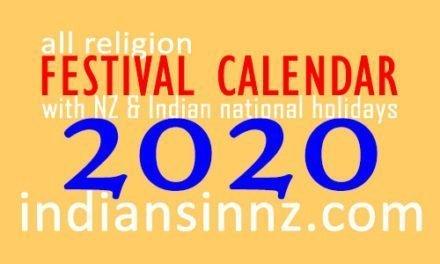 Festival Holidays Calendar 2020