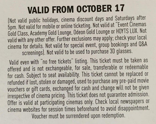 Photograph movie ticket giveaway terms