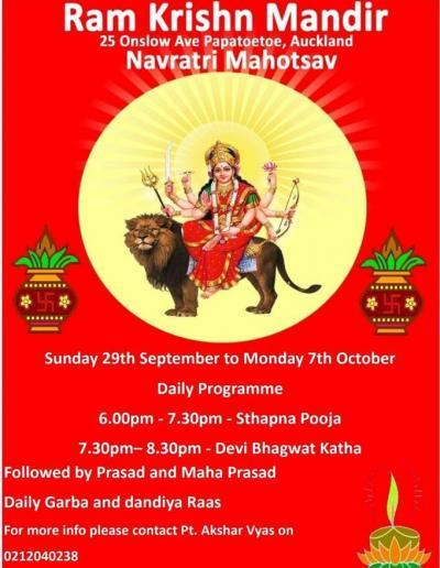 Ram Krishn Mandir Auckland 29 Sep - 7 Oct