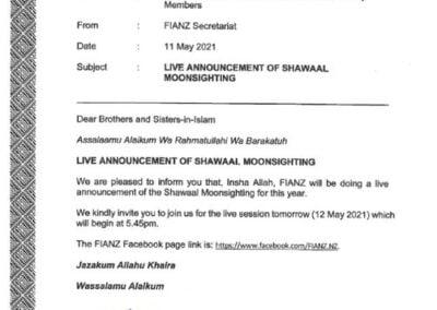 Shawaal Moonsight 2021 FIANZ Memo